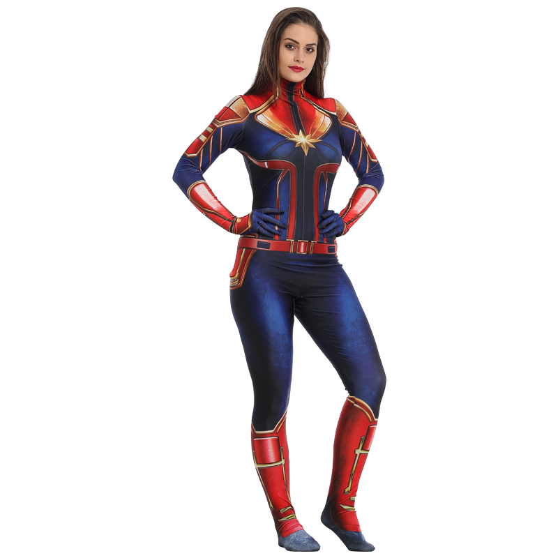 New Arrival Adult Captain Marvel Cosplay Costume Women -4573
