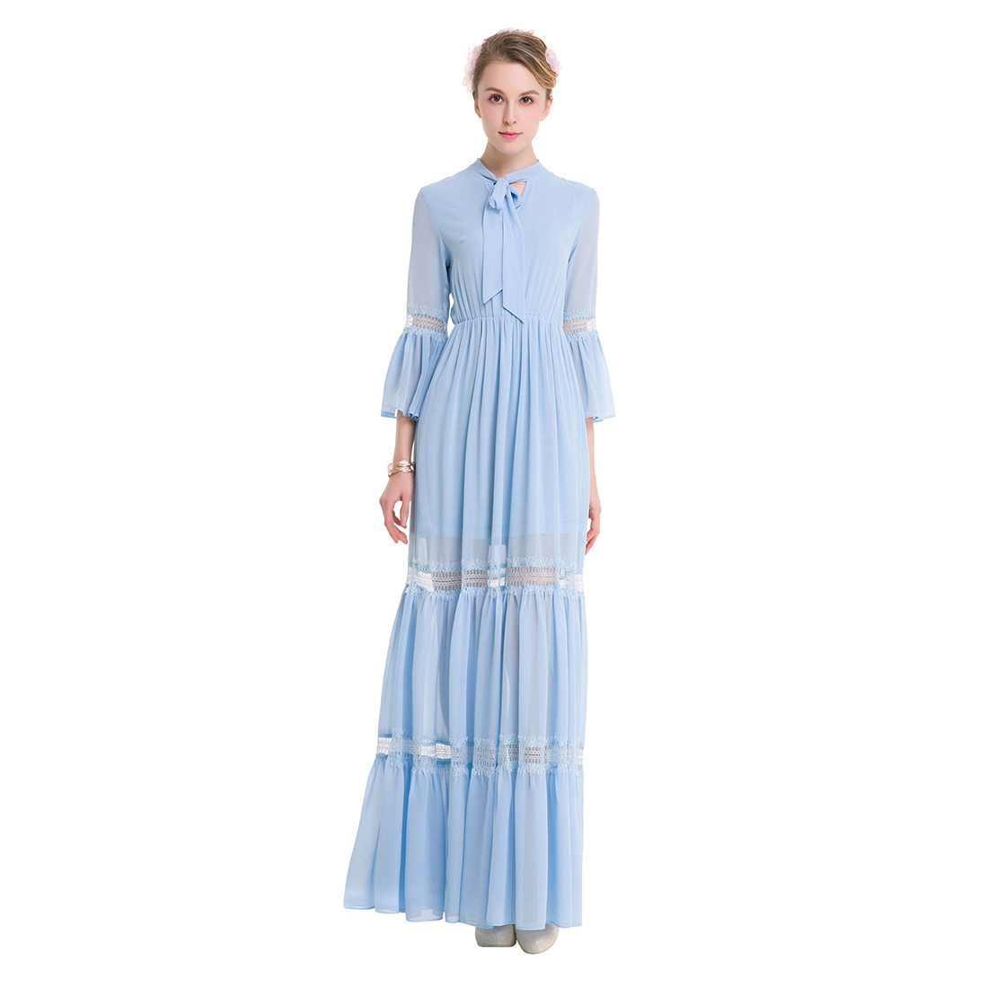 Original Design New Women Chiffon Long Dress Vintage Retro Bow Three Quarter Flare Sleeve Fairy Dresses Chiffon Boho Spring