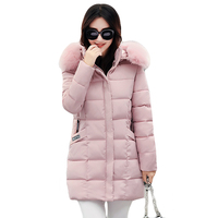 New 2017 Winter Cotton Coat Women Slim Outwear Medium Long Padded Jacket Thick Fur Hooded Wadded
