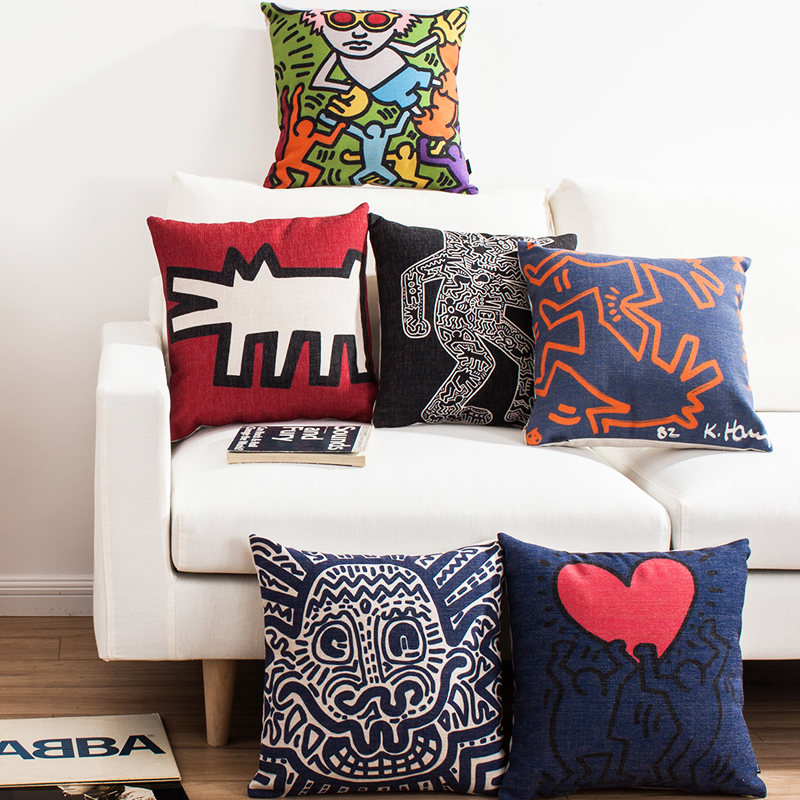 Graffiti Pillow Cover Linen Cotton Decorative Cushion CoverDecorative