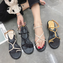 Women Sandals Summer Simple Stylish Woman Flip Flops Shoes Ladies Peep Toe Cross Tied Mid-Heel Sandals Chaussure Sandalias недорго, оригинальная цена