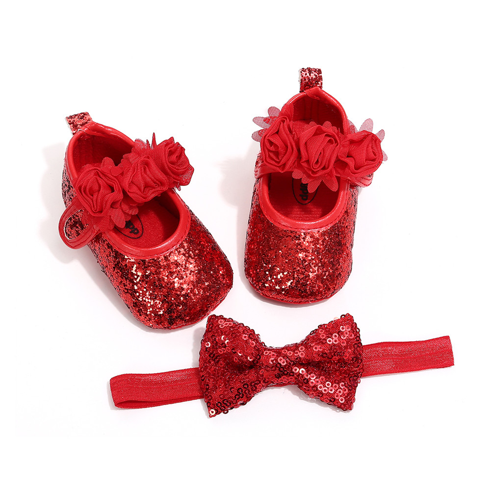 2019 Emmababy New Toddler Baby Girl Sequins Bowknot Crib Shoes +Headband Princess First Shoes