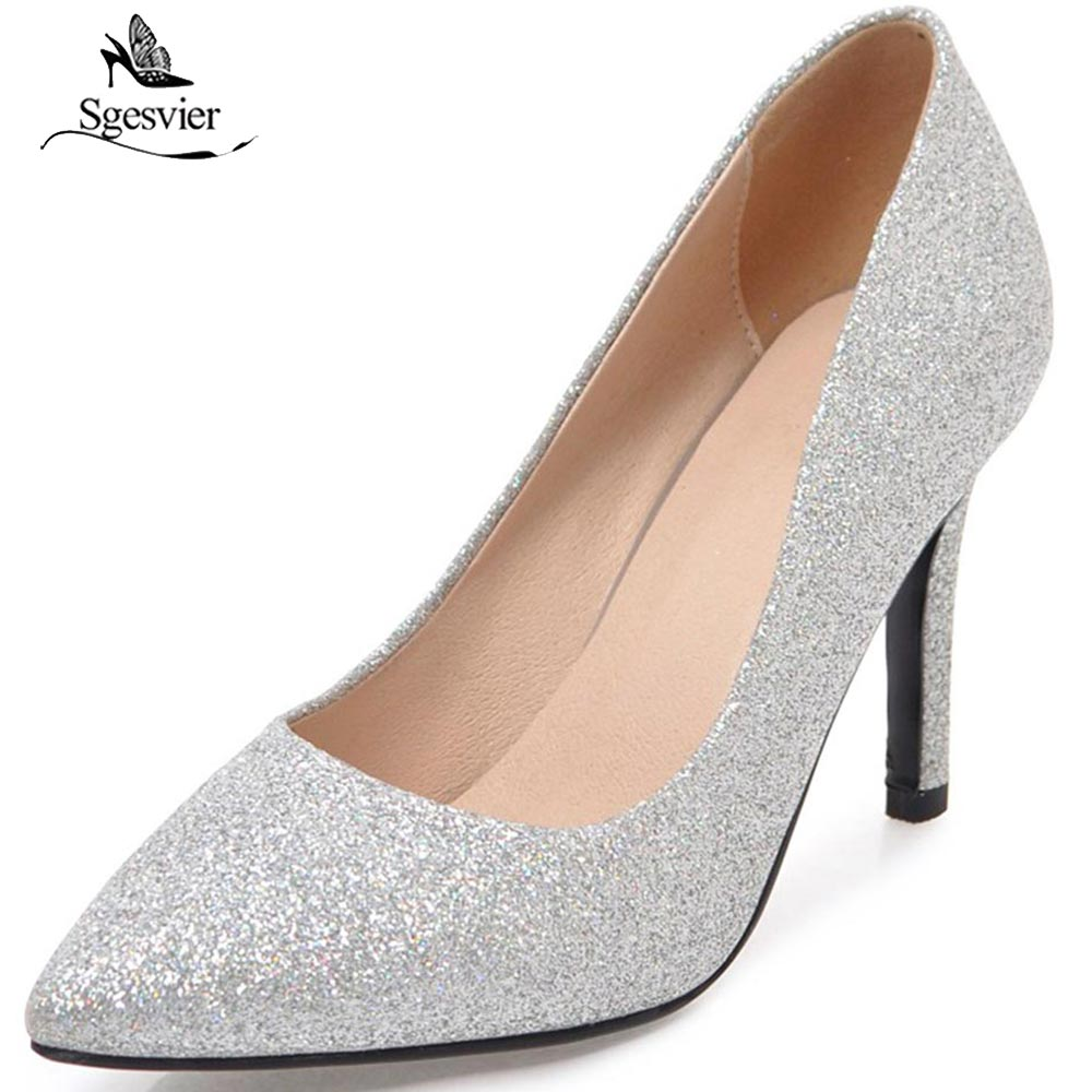 SGESVIER Fashion Sequined Cloth High Heels Thin Heel Women Pumps Fashion Pointed Toe Party Wedding Spring Shoes Woman OX265