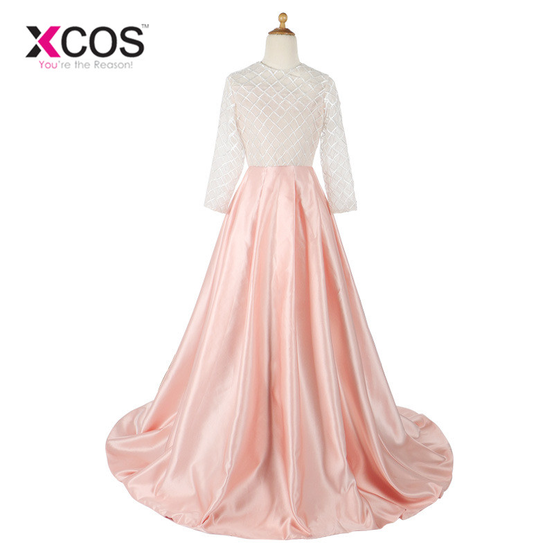 XCOS Hote sale O-Neck Long Sleeve Floor length Court Train Pink Bows Waist Belt Pale   Flower     Girl     Dresses   2018