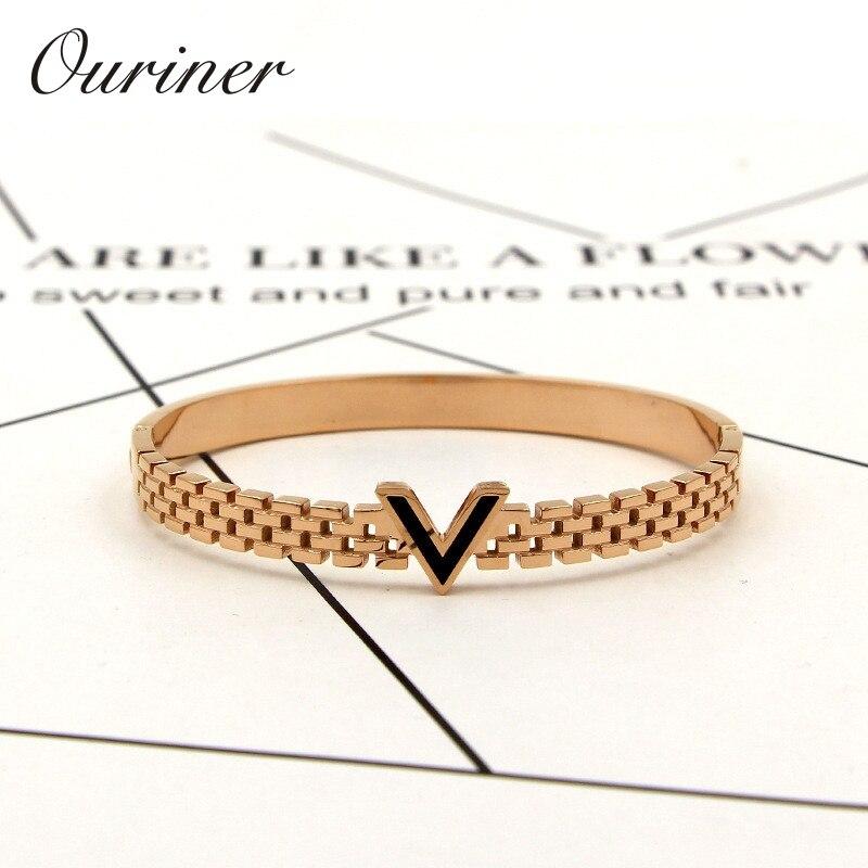 Women Jewelry V Letter Black Enamel Bangle For Women Men Gold-Color Wristhand Belt Bangles Cuff Buckle Bracelets K0069-1(China)