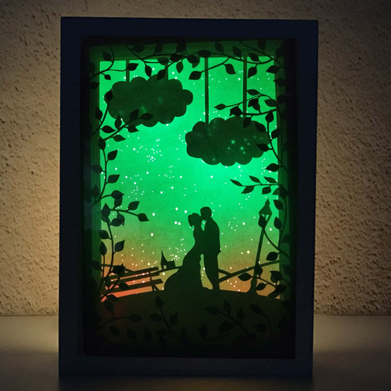 Valentines Day The bride and groom Romantic love Stars sky Design Papercut Light Boxes 3D Papercut Light for Girl gift wedding