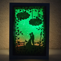 Valentine's Day The bride and groom Romantic love Stars sky Design Papercut Light Boxes 3D Papercut Light for Girl gift wedding
