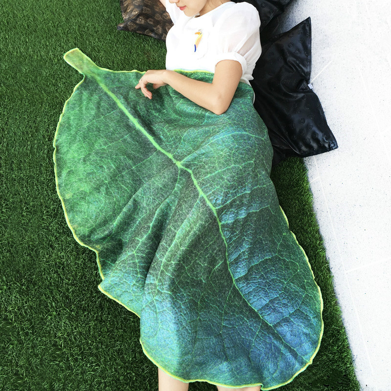 1 Piece Flannel Soft Plant Leaf Blanket Plush Air Conditioning Blankets Bedding Throws Bedsheet Sofa Cover Simulation 3D Design