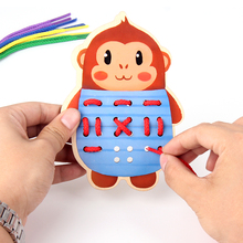 Newest Montessori Education Wooden 5 Kinds Wear The Button Wooden Toys Threading Board Beaded Blocks Child Birthday Gift