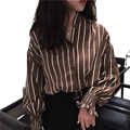 Lantern Sleeve Loose Striped Blouse Casual Long Sleeve Lapel Loose Blouse Plus Size 2 Colors Striped Shirt Blusas Femininas 2017