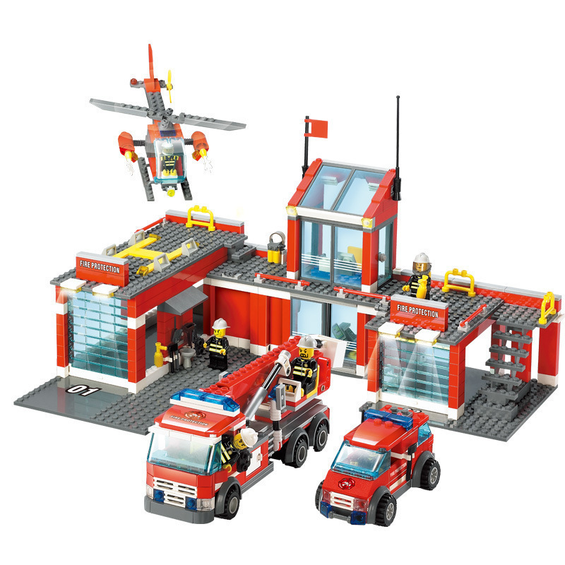 KAIZI 8051 City Super Large Fire Station 3D blocks Building Bricks Educational model toys for children Compatible with Legoed new classic kazi 8051 city fire station 774pcs set building blocks educational bricks kids toys gifts city brinquedos xmas toy