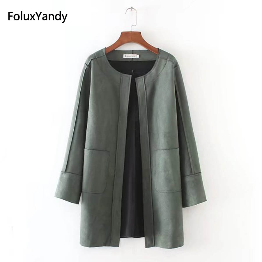 Open Stitch Suede   Trench   Coat for Women Brand New Plus Size 3 XL Casual O-neck Loose   Trench   Outerwear KKFY739