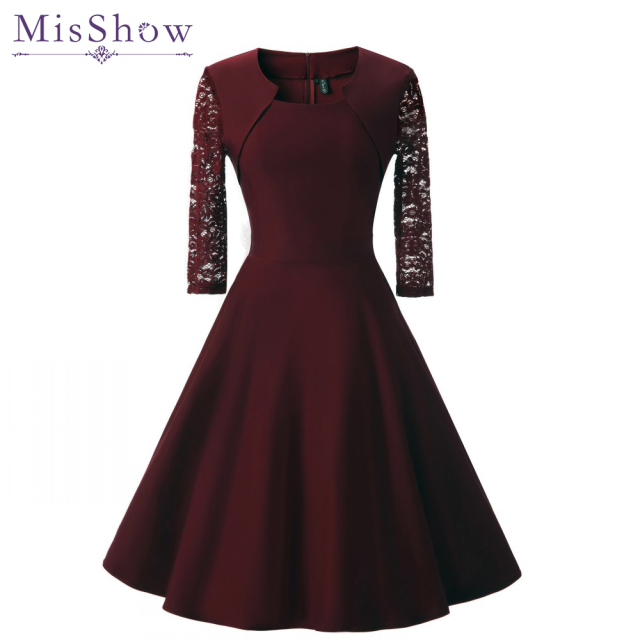 New Women Sexy Lace burgundy Evening Dresses plus size Cotton A-Line Short Sleeve Casual Midi Party Dress evening prom Gown