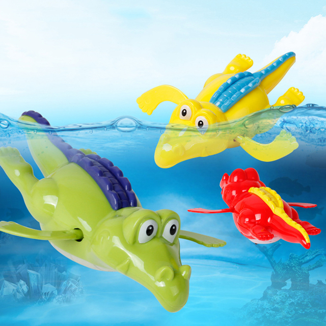 1Pcs Bath Toys Crocodile Wind Up Clockwork Toys Summer Outdoor Swimming Toy Swimming Pool Accessories Baby Play In Water Toys
