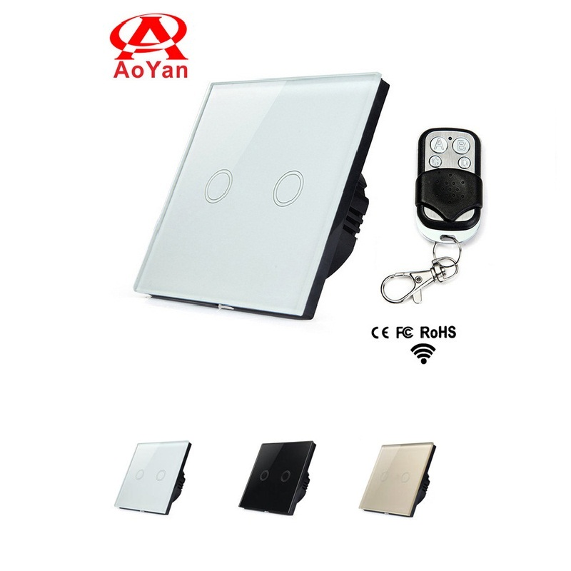 Aoyan EU Standard Touch Switch,2 Gang 1 Way Crystal Glass Panel Wall Switch,110-250V Remote Switch Compatible Broadlink RM2 RM makegood eu standard smart remote control touch switch 2 gang 1 way crystal glass panel wall switches ac 110 250v 1000w