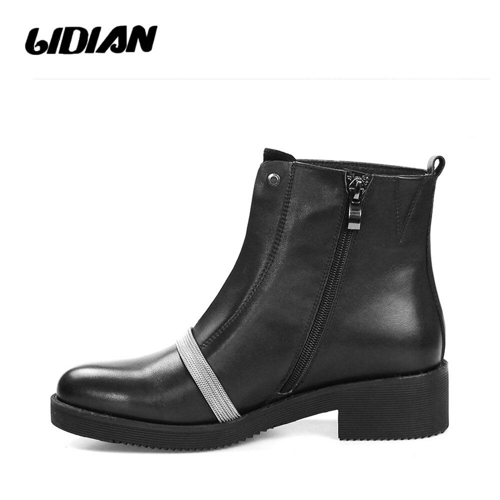 Short Lidian Mujeres Alta Genuino De Black Tacón Metal Botines B44 Planos Tobillo Negro Otoño Botas Plush Cadena Zapatos Moda Wool Cuero black Las Calidad rFrwRqtA
