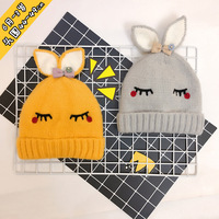 Children S Hat Bow Tie Baby Knitted Hat Hand Hook Rabbit Ear Baby And Wool Cap