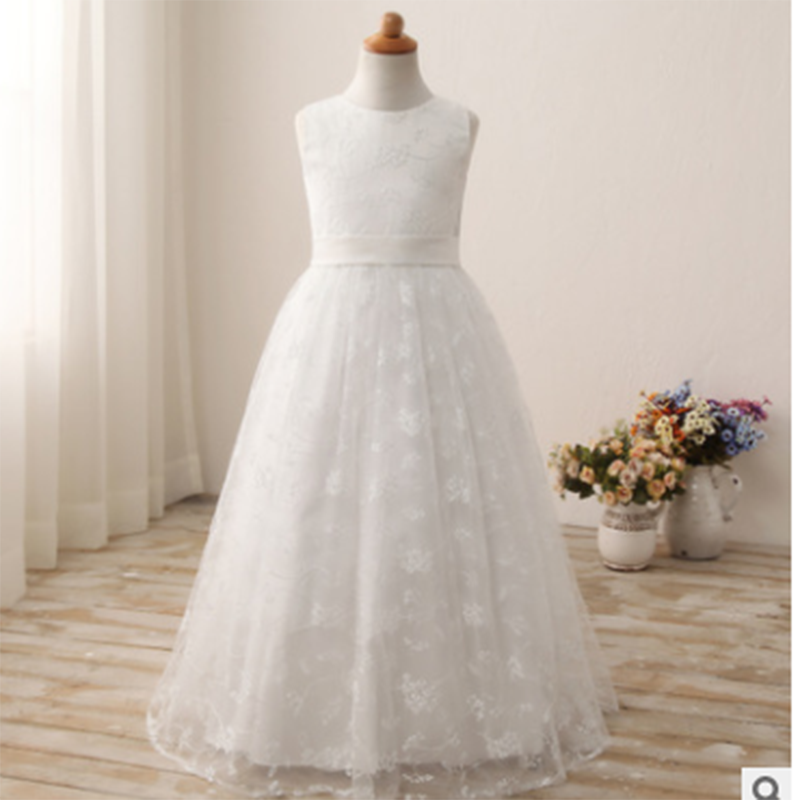Princess dress prom dress white round neck shoulder lace embroidered long European and American flower girl beauty dress