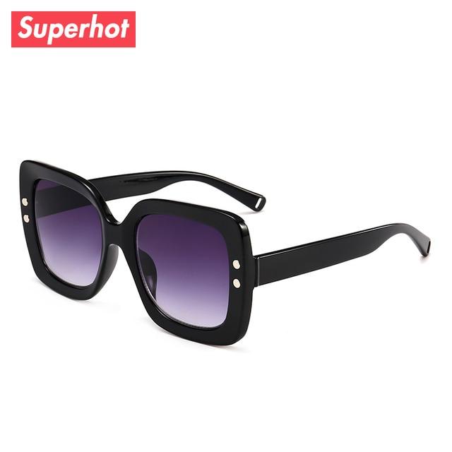 bb0199b5972 Superhot Eyewear 2018 Fashion Square Sunglasses Women Brand Designer Sun  glasses Retro Vintage Ladies Gradient Shades 13032