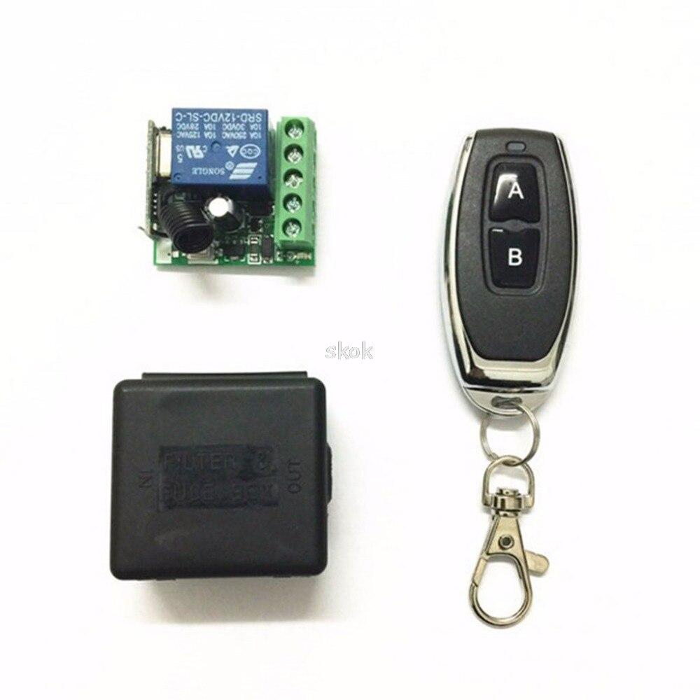 Relais de Commutation /à Distance sans Fil Apprendre Le Module de Commutation /à Code avec 2 /émetteurs et 1 r/écepteur