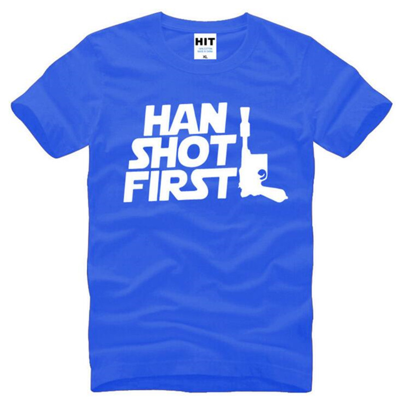 Movie Star Wars Han Shot First Printed T Shirts Men Summer Style Short Sleeve O-Neck Cotton Mens T-Shirt Funy Mens Fans Top Tee