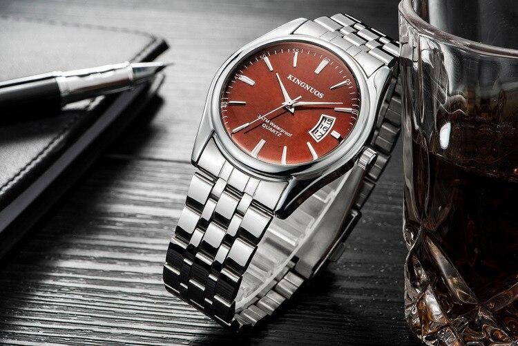 Kingnuos Tops Luxury Brand Men Full Stainless Steel Business Watches Men's Quartz Date Clock Men Wrist Watch relogio masculino 10