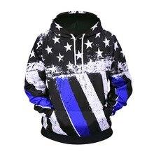 New USA Flag Hoodies Men/women Striped Stars Print Pullover Hooded Sweatshirts Harajuku Hip Hop Streetwear Tops