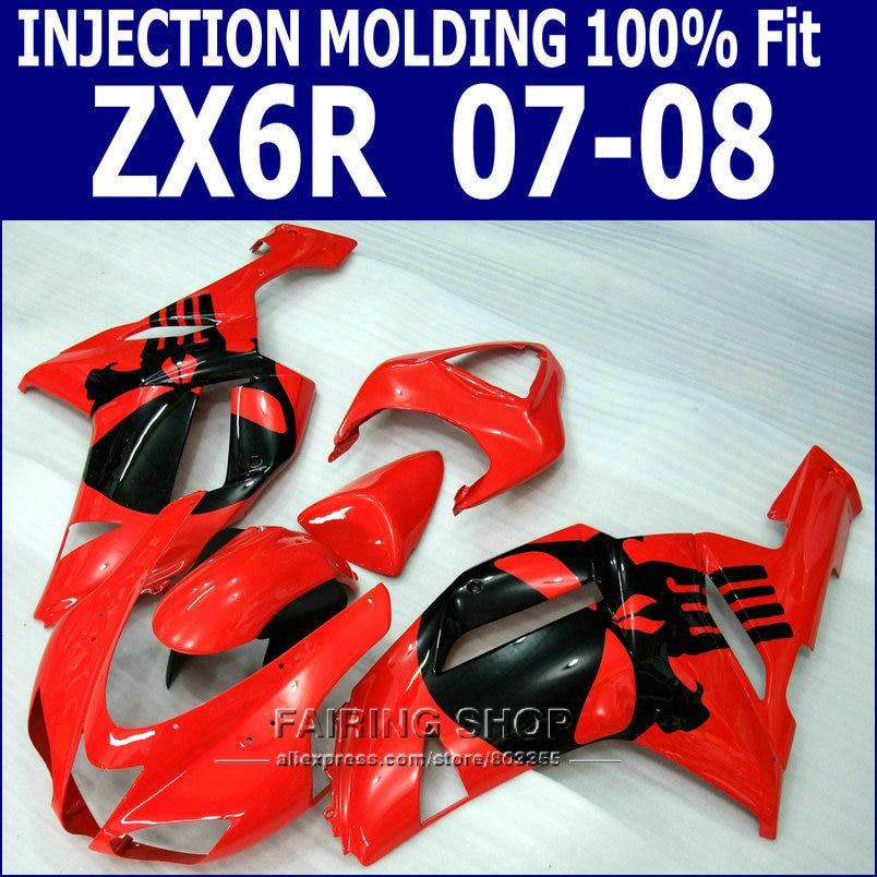⓪Diseño negro rojo para Kawasaki Ninja carenado kit ZX6R 2007 2008 ...