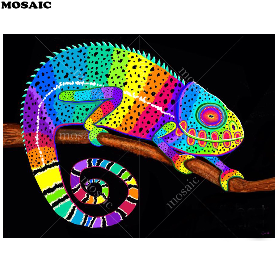 Crystal Rhinestone Diamond Embroidery Paintings Pictures Arts Craft for Home Wall Decor Chameleon DIY 5D Diamond Painting by Number Kits