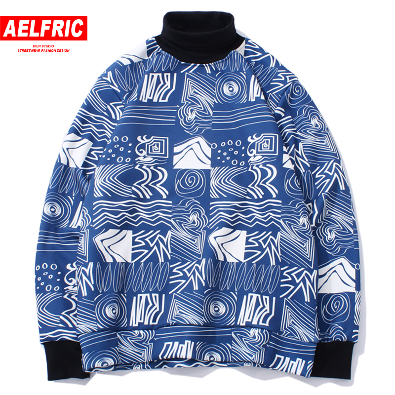 AELFRIC Men Hoodie Fleece Turtleneck Pullover Sweatshirt Fashion Autumn Winter Hoodies Casual Streetwear Hip Hop Outwear JQ09 ...