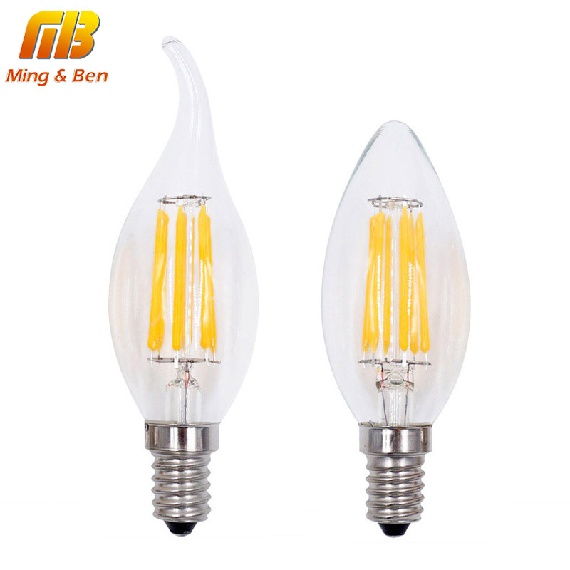 [MingBen]LED Filament Candle Light Bulb 2W 4W 6W E14 220V 110V C35 Edison Bulb Retro Antique Vintage Style Cold White Warm White hdx lzd 603b e14 4w 12lm 3500k warm white light 32 led candle light bulb golden