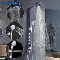 GAPPO стены ванной смеситель для душа набор черный стену смеситель для душа набор водопад Дождь душ ABS Панель 2 гидромассажем, спа GA2417