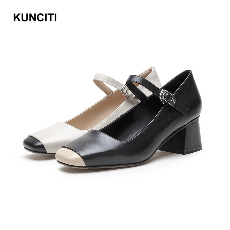 2019 Womens Oxford Heel Ladies Pumps Shoes Genuine Leather Square Toe Mary Jane Shoes For Women