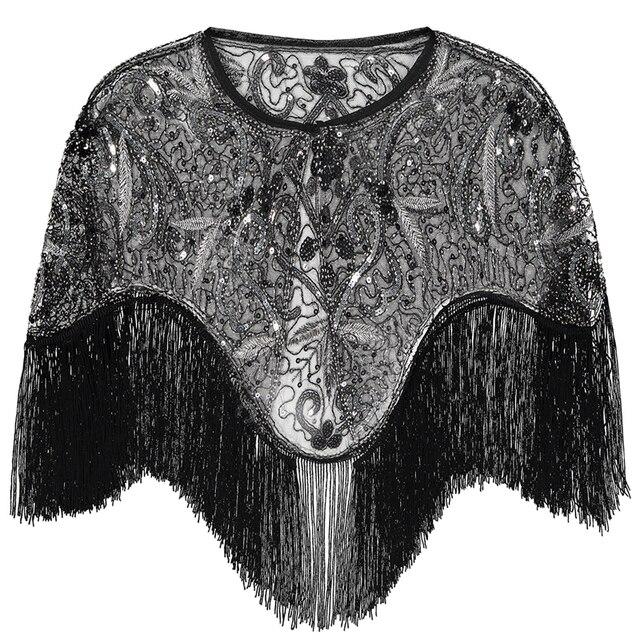 여성 1920 년대 플래퍼 자수 프린지 숄 커버 개츠비 파티 페르시 스팽글 케이프 빈티지 메쉬 scraf 랩 드레스