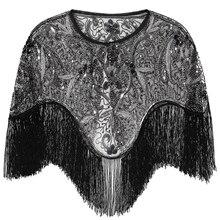 Gatsby chal de flecos bordado para mujer, chal de flecos, con cuentas, para fiesta, capa de lentejuelas, Vintage, de malla, para vestidos, 1920