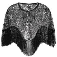Kobiety 1920s Flapper haft Fringe szal Cover Up Gatsby Party zroszony cekiny Cape Vintage Mesh Scraf okłady na sukienki