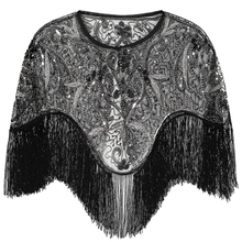 Women 1920s Flapper Embroidery Fringe Shawl Cover Up Gatsby Party Beaded Sequin Cape Vintage Mesh Scraf Wraps for Dresses