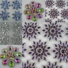Diy исправленное железо прозрачное фиолетовое синее стекло граненые Стразы модная аппликация подходит для обуви сумка Одежда украшения в форме цветка 1 шт