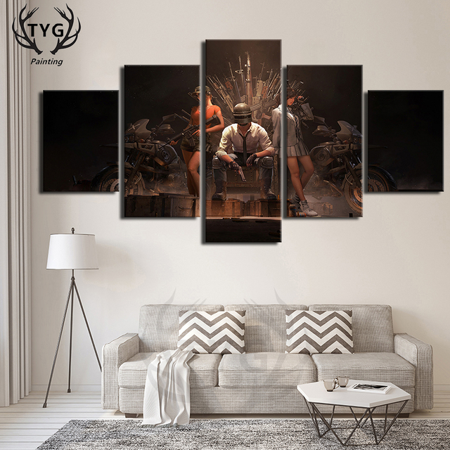 HD Printed Decorative PUBG Posters Eat chicken Figure Games 5 Pieces Canvas Painting Living Room Canvas Wall Decor Drop Shipping