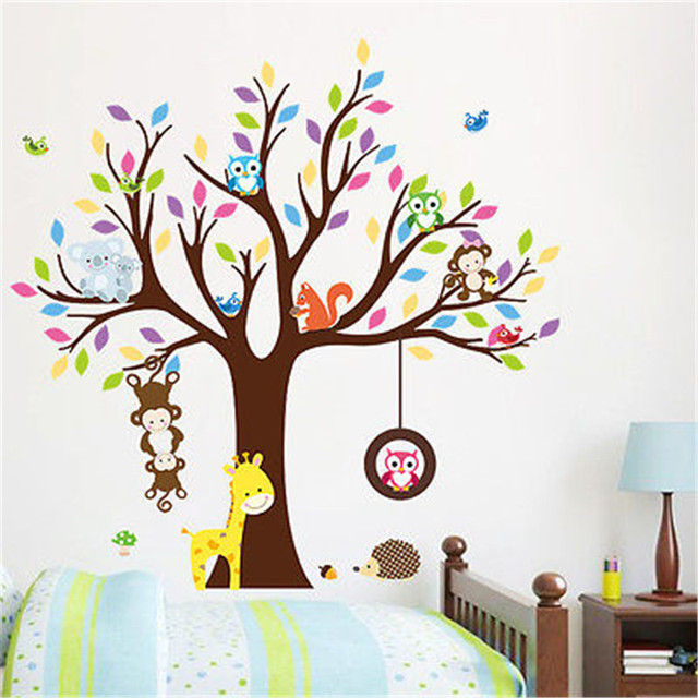 Monkey Owl Animals Tree Mural Wall Decal Vinyl Stickers Nursery Decor Kids Gift