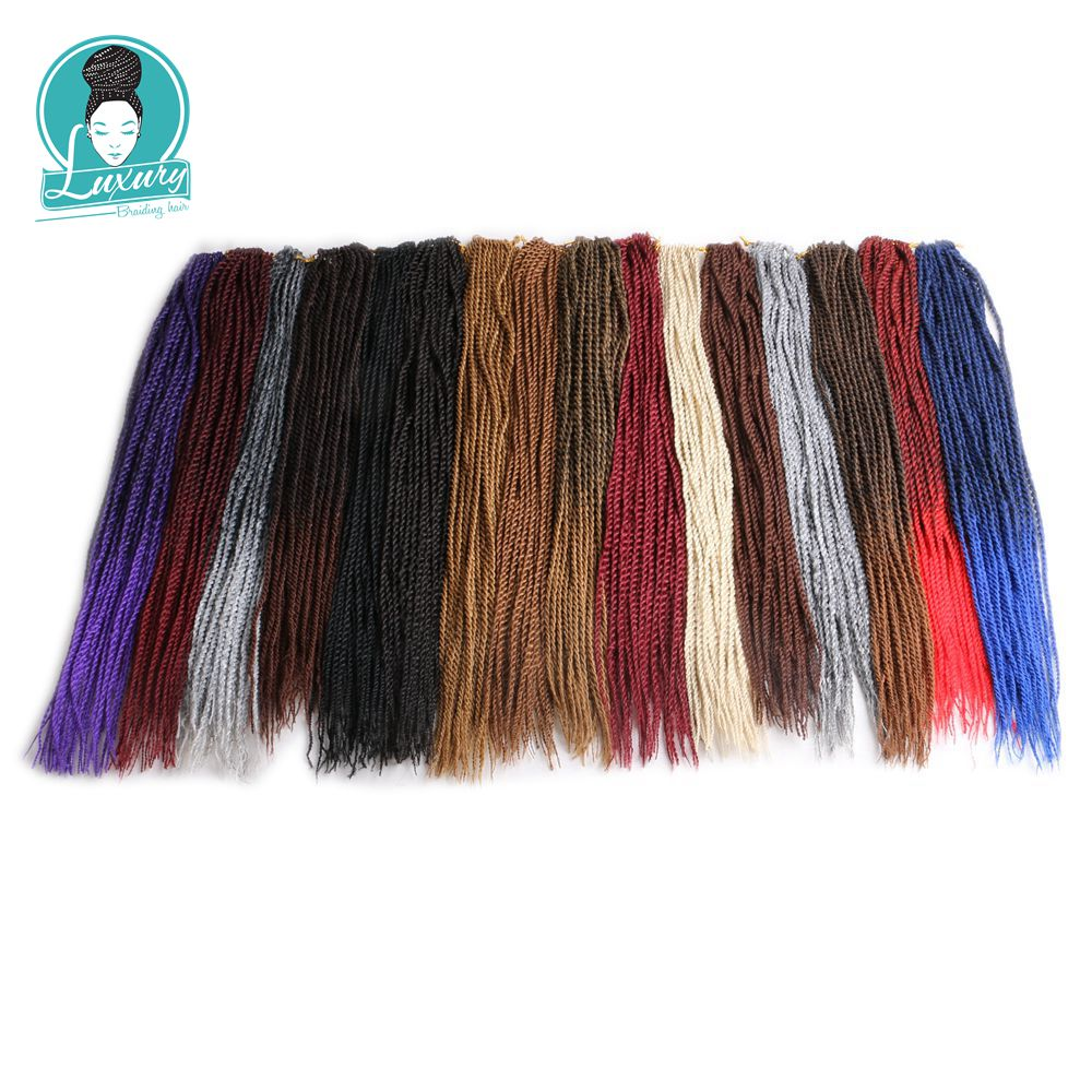 Luxury For Braiding Ombre Crochet Braids Kanekalon Senegalese Twist Hair 22 5mm 32roots/pack 6packs/lot Synthetic Pieces