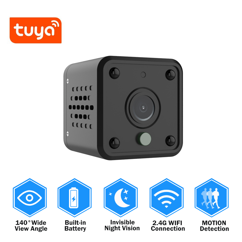 Tuya Wifi Camera 1080P Smart Home Security Baby Monitor 140 Degree Wide Angle Wireless Mini IP Camera Built in Battery IPCAM