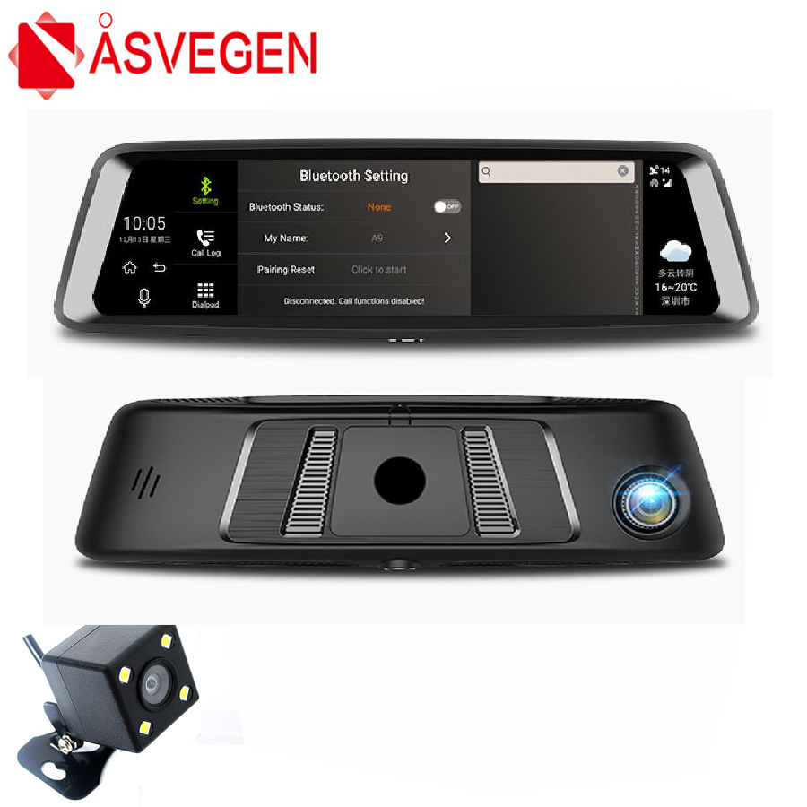 Asvegen 9.88 inch 4G WIFI Bluetooth GPS Rearview Mirror Standard 1600*400 HD Full Screen Android Car 1080P 140 Degrees Recorder latest fullscreen lcd rearview mirror front and rear car recorder