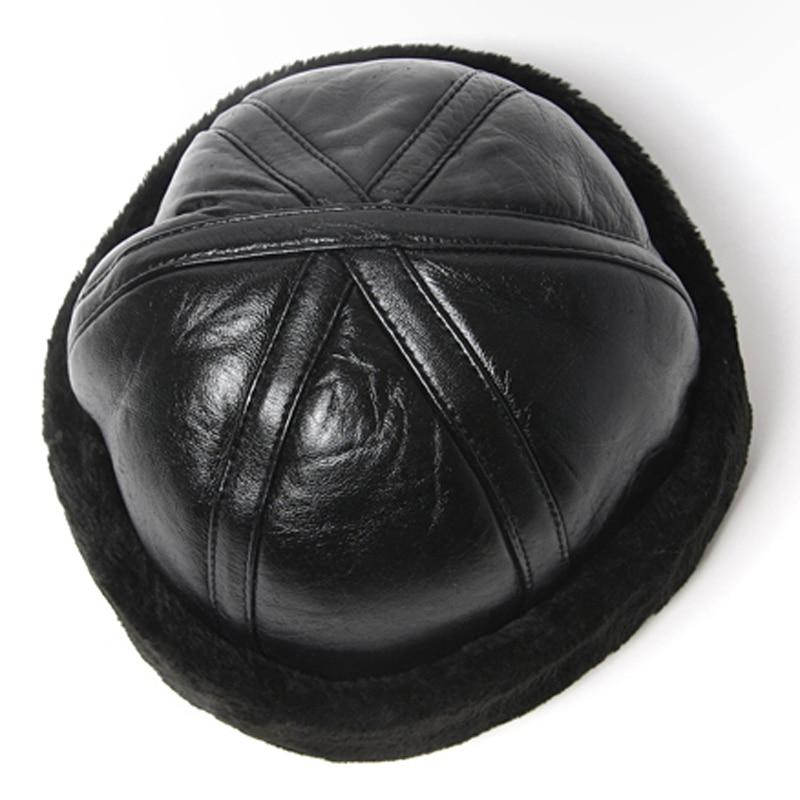 Svadilfari Wholesale New Fashion 2018 Hot Sale 100% High Quality Genuine Round Leather Hats Men Women Winter Warm Sheepskin Cap