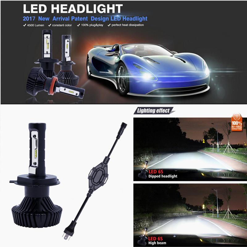 ФОТО Super Bright Car Headlights H4 LED 9004 9007 H13 80W 9000LM 6500K Philips Chip Automobiles Headlamp Canbus Anti-interference