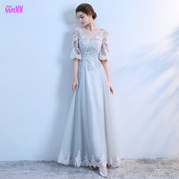 Unique Silver Evening Dresses Long 2017 New Sexy Evening Gowns Scoop Tulle Appliques Lace Up A