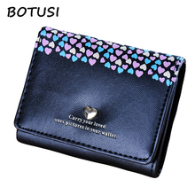BOTUSI Loving Heart New Coming Fashion Lady Women Short PU Leather Wallet Card Holder Famous Phone Bag Money Coin