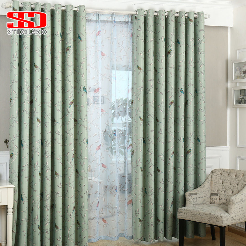 Green bedroom curtains - Linen Birds Blackout Curtains For Living Room Kids Bedroom Children Cotton Fabric Drapes Blinds Window Panels Green Shading 95