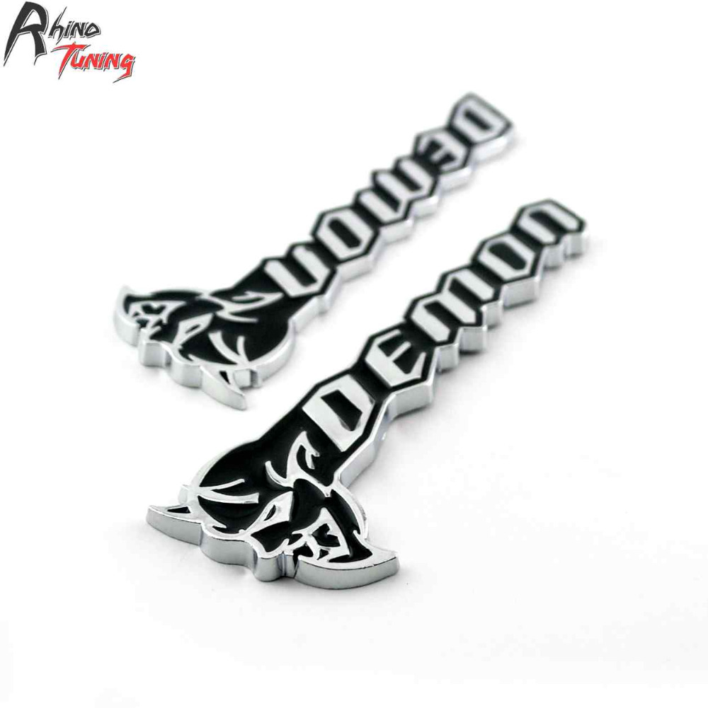Rhino Tuning 1Pair Demon Auto Styling Emblem Pony Car Metal Car Badge For Challenger SRT Demon Sticker 20763