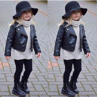 Cool Fashion Toddler Kids Girl Clothes Motorcycle PU Leather Jacket Biker Coat Overcoat Black Winter Autumn